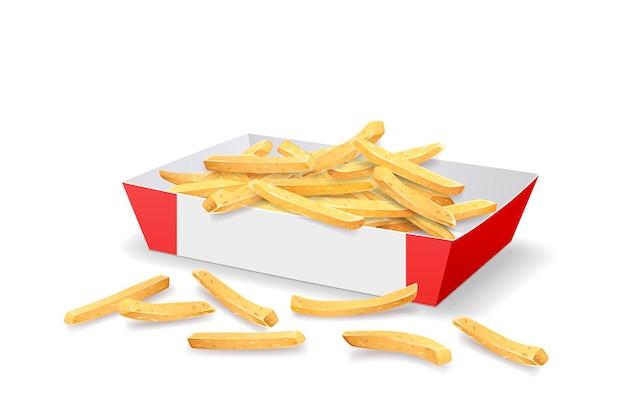Batatas fritas em modelo de bandeja de papel vermelho e branco.