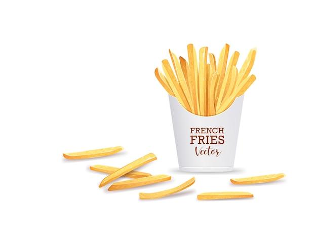 Batatas fritas em modelo de caixa.