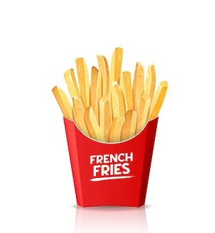 Batatas fritas, em modelo de embalagem de caixa vermelha.
