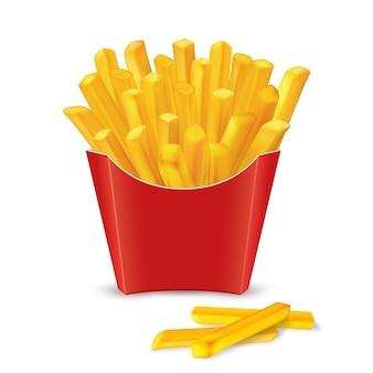 Batatas fritas em pacote de papel vermelho, ilustração vetorial de fast-food isolada no fundo branco