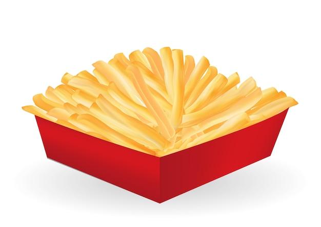 Batatas fritas em um vetor de pacote de caixa vermelha