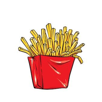 Batatas fritas em uma caixa brilhante. ilustração realista.