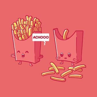 Batatas fritas espirros