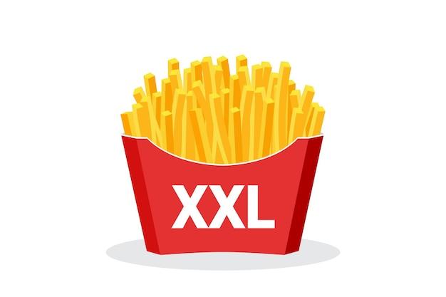 Batatas fritas fast food em vetor de design plano red package box