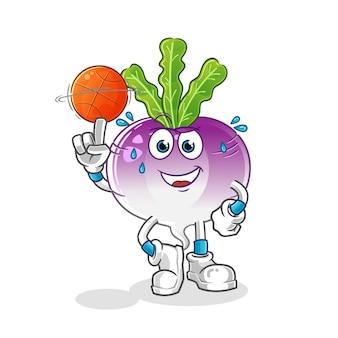 Batatas fritas jogando mascote do basquete