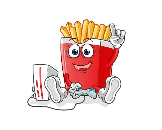 Batatas fritas jogando videogame. personagem de desenho animado