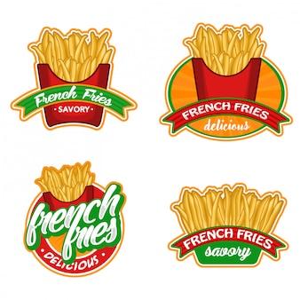 Batatas fritas logotipo conjunto de ações vetor