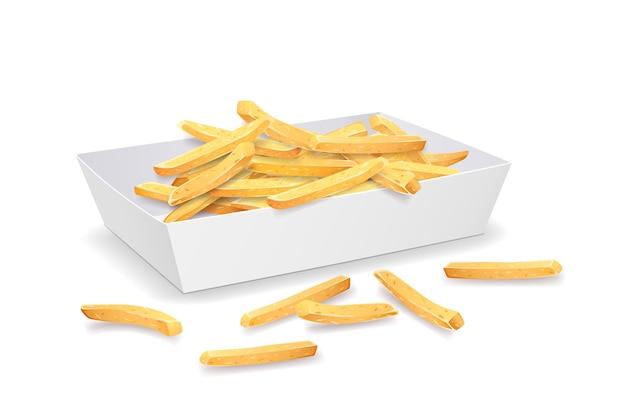 Batatas fritas na bandeja de papel.