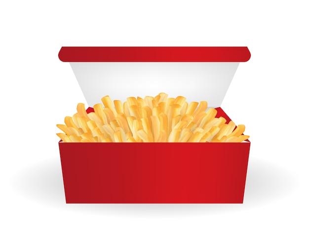 Batatas fritas reais em um vector de pacote de balde vermelho