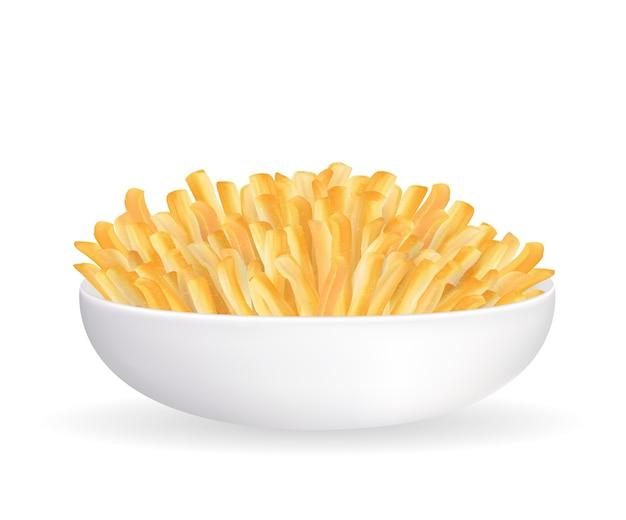 Batatas fritas reais em um vetor de tigela branca
