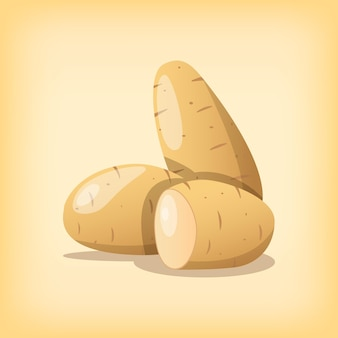Batatas vegetais saudáveis com cores realistas