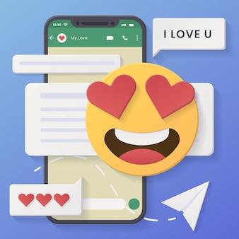 Bate-papo 3d fundo mínimo de conversa rosto sorridente com olhos de coração com estilo e design de corte de papel