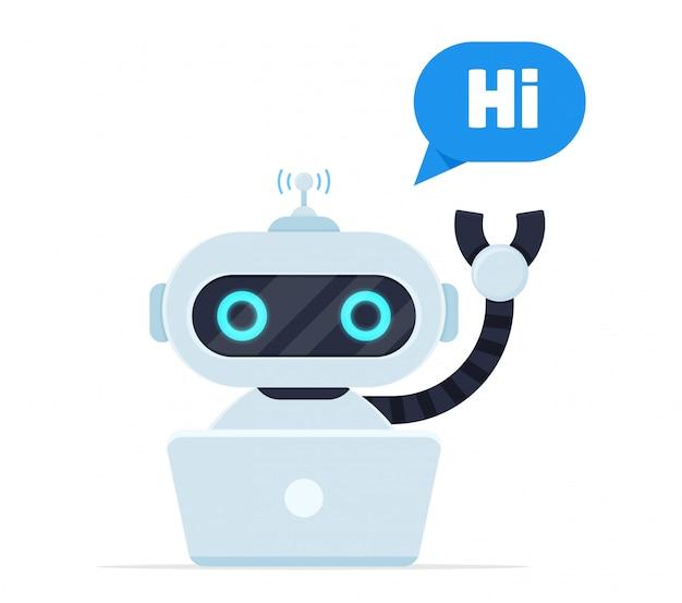 Bate-papo bot dizer oi. robôs programados para conversar com clientes online.