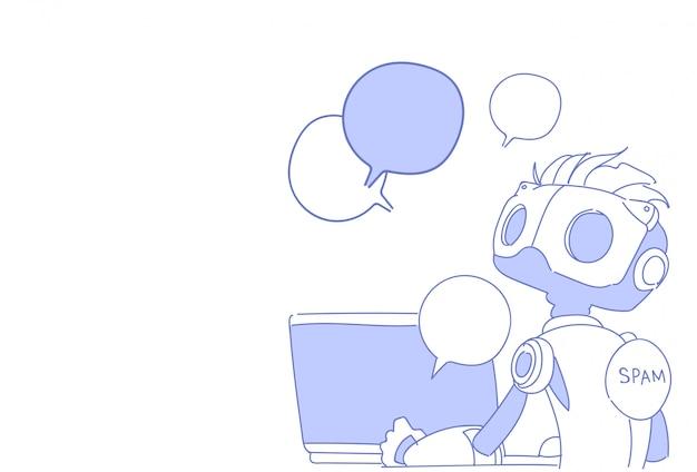 Bate-papo bot usando laptop computador robô assistência virtual suporte online discurso bolha comunicação inteligência artificial