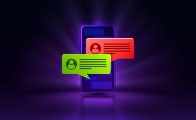Bate-papo carta smartphone tecnologia de tela móvel vetor de exibição móvel