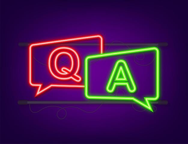 Bate-papo com bolhas de perguntas e respostas. ícone de néon. ilustração em vetor das ações.