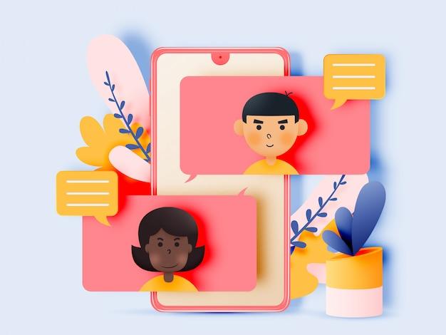Bate-papo, conversa de jovens com smartphones.