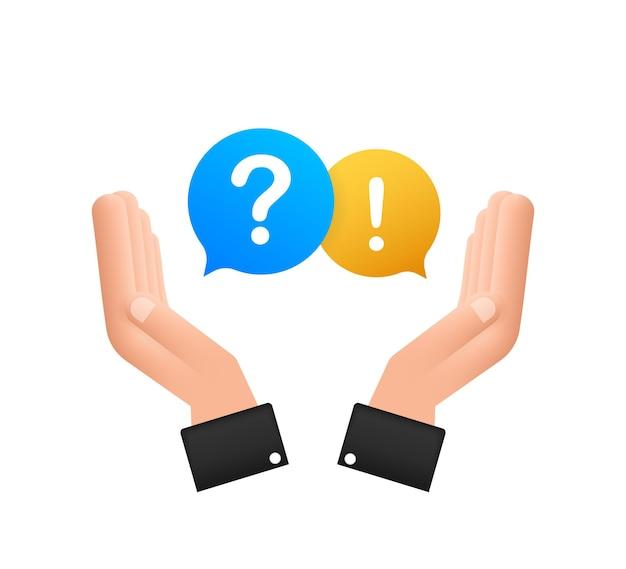Bate-papo da bolha de perguntas e respostas pairando sobre as mãos no fundo branco. ilustração em vetor das ações.