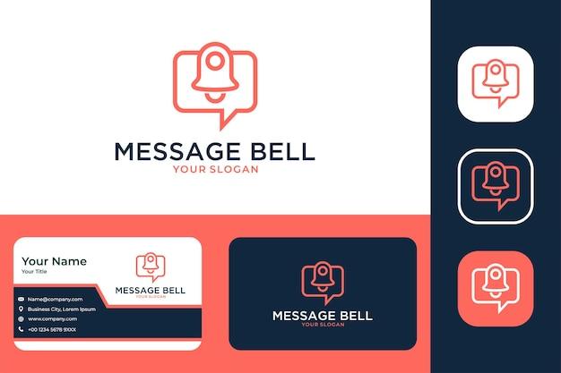 Bate-papo de mensagem com design de logotipo moderno de sino e cartão de visita Vetor Premium