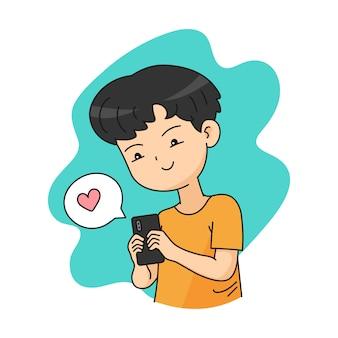 Bate-papo de personagem menino no smartphone
