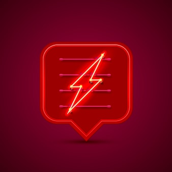 Bate-papo do sinal de néon da tabuleta do relâmpago sobre o fundo vermelho. ilustração vetorial