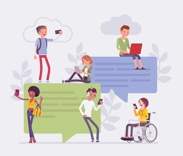 Bate-papo e comunicação de jovens amigos com smartphone