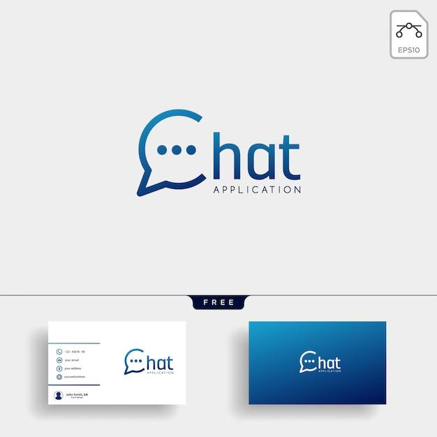 Bate-papo, mensagem, discurso, modelo de logotipo de conversa com cartão de visita