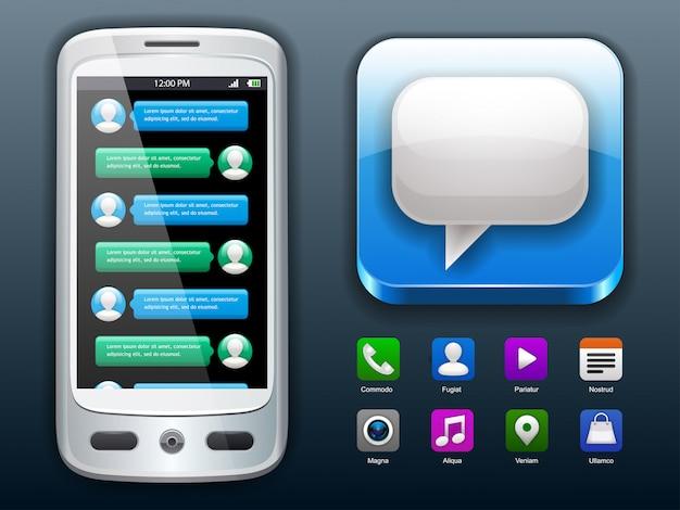 Bate-papo móvel e ícones sociais