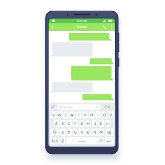 Bate-papo no smartphone. bolhas de diálogos na tela do dispositivo móvel com teclado, enviando nuvens de mensagens privadas, modelo de vetor de aplicativo de bate-papo. ilustração do aplicativo de mensagens online para celular