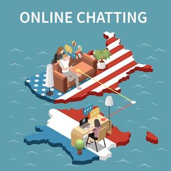 Bate-papo online entre jovens que vivem na rússia e nos estados unidos. ilustração isométrica