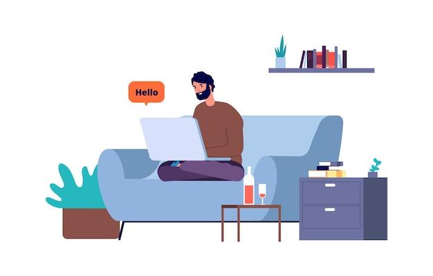 Bate-papo online. homem freelance trabalhando em casa.