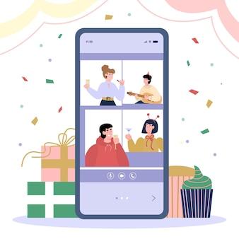 Bate-papo para amigos de comunicação à distância usando telefone celular uma ilustração vetorial