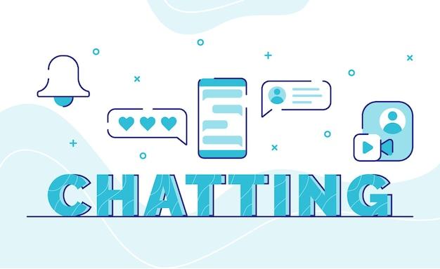 Bate-papo tipografia palavra arte plano de fundo do ícone sino emoticon bolha chat videochamada global com estilo de contorno