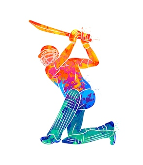 Batedor abstrato jogando críquete com respingos de aquarelas. ilustração de tintas.