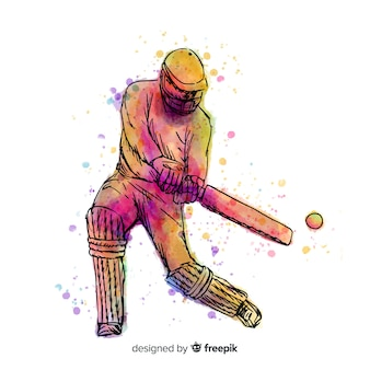 Batedor colorido jogando críquete em estilo aquarela