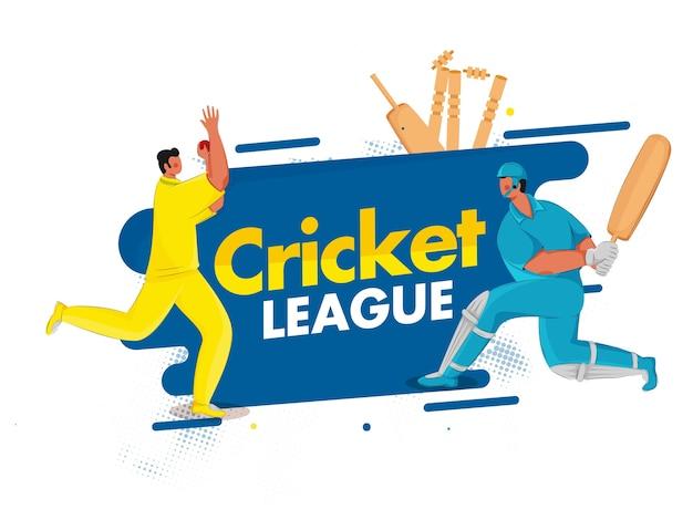 Batedor de desenho animado e personagem de jogador de futebol em jogar pose em fundo azul e branco para a liga de críquete.
