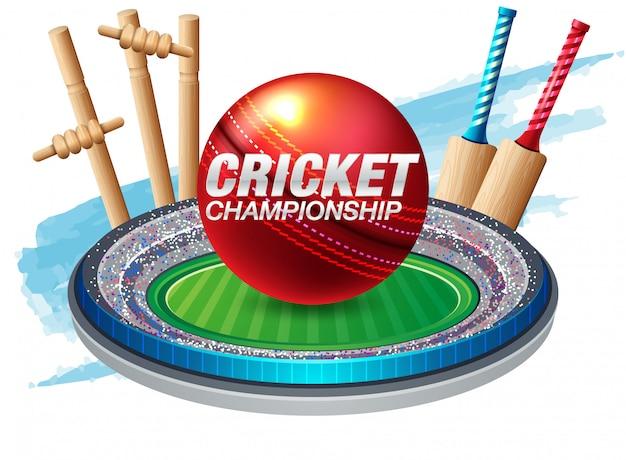 Batedor e jogador jogando esportes de campeonato de críquete