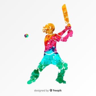 Batedor jogando críquete em estilo aquarela abstrata