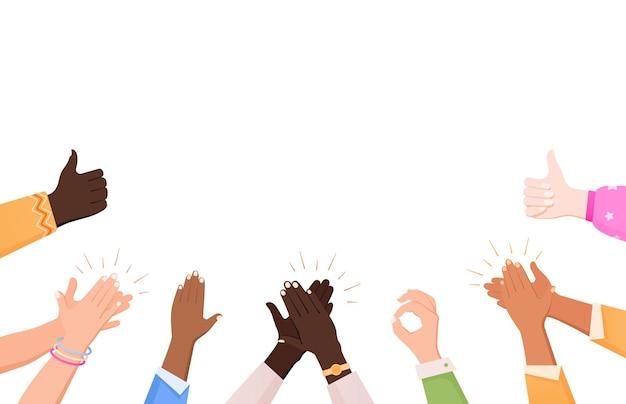 Batendo palmas, ok, coração, mãos, composição, aplauso, com mão humana plana fazendo gestos e espaço vazio