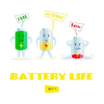 Bateria alta, média e baixa. carga de bateria dos desenhos animados.