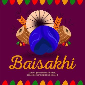 Bateria baisakhi tradicional de design plano