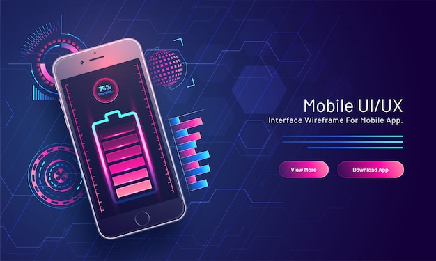 Bateria com porcentagem de 75% de carregamento no telefone inteligente isométrico no circuito de alta tecnologia para a página de destino baseada em ui / ux móvel.