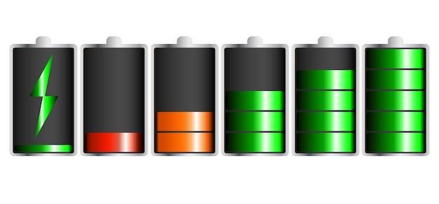 Bateria de bateria descarregada e totalmente carregada