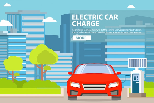 Bateria de energia do painel solar de carros de recarga de estação electro. arranha-céus de edifícios de paisagem da cidade e árvores e arbustos de estrada. veículo elétrico ecológico. recursos renováveis verdes.