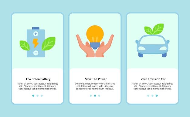 Bateria ecológica verde economiza energia para modelo de aplicativo móvel ui web