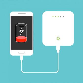 Bateria fraca. smartphone carregando com banco de potência externo. conceito de dispositivo de armazenamento de banco de dados. design plano. ilustração.