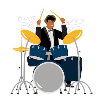 Baterista de jazz tocando isolado no branco