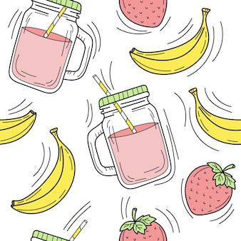 Batido de banana e morango em frasco de vidro desenhado à mão sem costura padrão