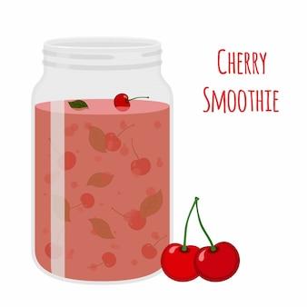 Batido de cereja. bebida de desintoxicação vegetariana, coquetel