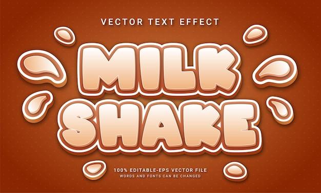 Batido de leite 3d com tema de efeito de texto e bebida doce
